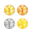 set of colored sport medals vector image vector image