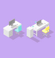set of two low poly isometric work places vector image vector image