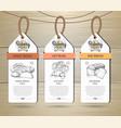 set restaurant labels bakery menu design vector image