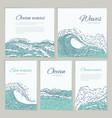 set waves sea ocean card wedding summer vector image vector image
