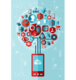 Smartphone network tree vector image