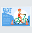 smiling active boy riding bicycle kids land vector image vector image