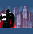 superhero holding book in city silhouette vector image vector image
