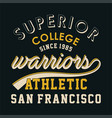 superior college warriors vector image vector image