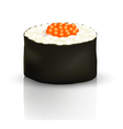 Sushi roll on the surface with reflection vector image vector image