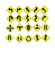 Traffic sign arrow with yellow plate