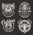 vintage hunting labels vector image vector image