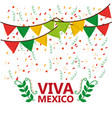 viva mexico poster confetti garland leaves party vector image vector image