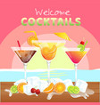 welcome cocktail set of cocktail background vector image vector image