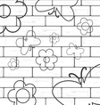white brick wall with flover and butterfly vector image
