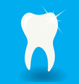 white tooth icon with shine on blue background vector image