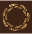 wreath golden spikelet deco thanksgiving vector image vector image
