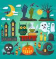 zombie hands bats owl vector image