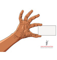 Hand showing business card African ethnicity vector image