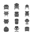Silhouette armchair isolated icons set vector image