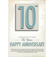 10 years anniversary retro background vector image vector image