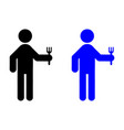 a man holding a fork icon vector image