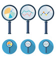 analytic icons - magnifying glass set symbol vector image vector image