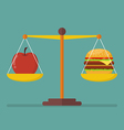 Apple and hamburger on scales vector image