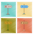 assembly flat shading style icons sign aquatic zoo vector image vector image