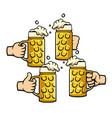 beer mug group toast vector image vector image