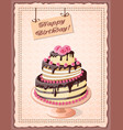 birthday card with cake tier and roses vector image vector image