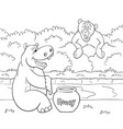 black and white of cartoon bear is looking with vector image
