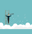 businessman standing on ladder and use telescope vector image vector image