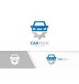 car and gear logo combination vehicle vector image