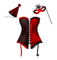 carnival corset with hat and mask vector image vector image
