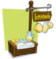 cartoon lemonade vendor booth market wooden stand vector image vector image