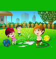 children playing with sprinkler water in the vector image vector image