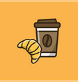 coffee drink and fresh croissant vector image vector image