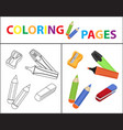 coloring book page back to school set marker vector image vector image