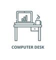 computer desk line icon computer desk vector image vector image