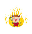 devil in fire in kawaii style vector image vector image