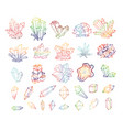 doodle sketch colored crystals collection vector image vector image