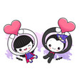 dracula and witch character is holding a love vector image vector image