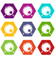 drum icons set 9 vector image vector image