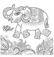 ethnic indian elephant line original drawing vector image vector image