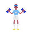 flat elderly man in sportsuit dumbbell lift vector image vector image