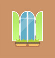 flat window with green shutters and potted flowers vector image vector image