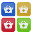 four square color icons shopping basket add plus vector image