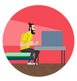 funny cartoon character bearded hipster sitting vector image
