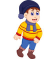 funny little boy cartoon wearing winter clothes vector image