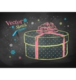 Gift box on chalkboard background vector image vector image