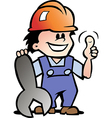 Hand-drawn of an Happy Mechanic or Handyman vector image vector image