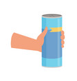 hand holding bottle with cleaning powde cleaning vector image vector image