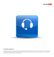 headphone icon - 3d blue button vector image