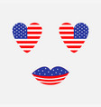 heart shape american flag icon set face with eyes vector image vector image